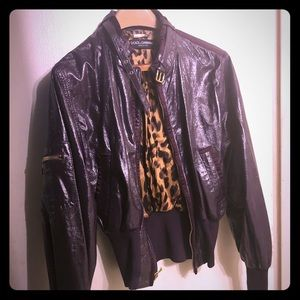 Dolce gabanna patent leather jacket real leather